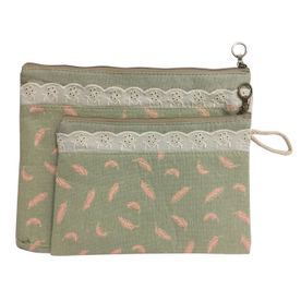 69b8b8780 Bag of Small Things Fabric Multipurpose Green Feather Travel Pouch - Set of  2