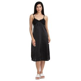 965e9625f Zivame Satin Chic Short Nighty - Black
