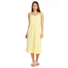 282928419 Zivame Sea Life Short Nighty - Yellow N Print