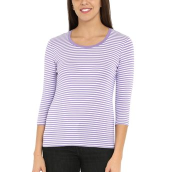 53af0528265d Jockey Paisley Purple & White Yarn Dyed Stripe 3/4 Sleeve T-Shirt at ...