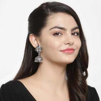 317e3e240 Ferosh Nitya Face Oxidized Silver Ethnic Earrings at Nykaa.com