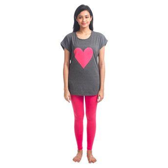 097f114fd5f810 Nite Flite Trendy Long Top And Leggings Set - Dark Grey & Hot Pink (M)(M)
