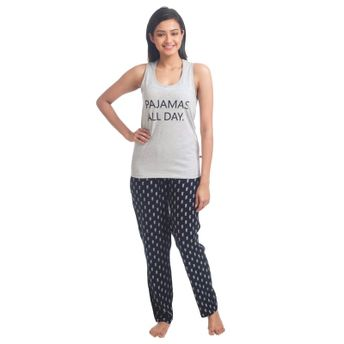 42cc6fc8e33 Nite Flite Pajamas All Day Cotton Pajama Set - Light Grey & Black at ...