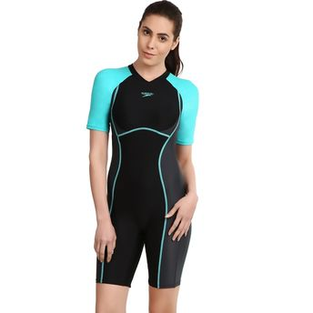 d7a97e2d9a5 Speedo Female Swimwear Essential Spliced Kneesuit - Black at Nykaa.com