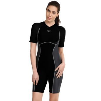 56531060b46 Speedo Female Swimwear Essential Spliced Kneesuit - Black at Nykaa.com