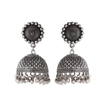 911156743 Voylla Beautiful Oxidized Silver Plated Jhumka Earrings at Nykaa.com