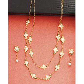 72acaa7098f1b Voylla Floral Necklace Set With Drop Earrings
