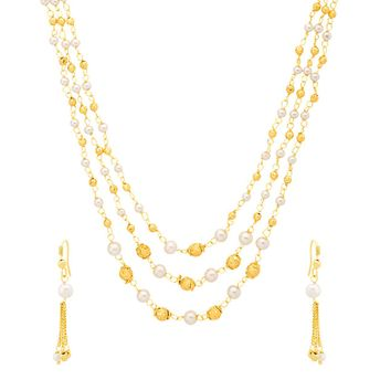 4834a32edf46b Voylla Sanskriti Gold Plated Beads And Pearl Beads Necklace Set