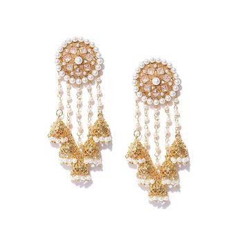 7fb975d130857 Youbella Jewellery Gold Plated Pearl Fancy Party Wear Jhumki Earrings For  Women Traditional Earrings