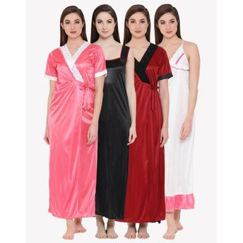 1fec66d914 Clovia Pack of 2 Satin Long Nighty and Robe - Multi-Color at Nykaa.com
