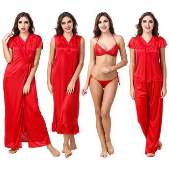 d9be4399f Fasense Women Satin Red Nightwear 6 Pc Set of Nighty