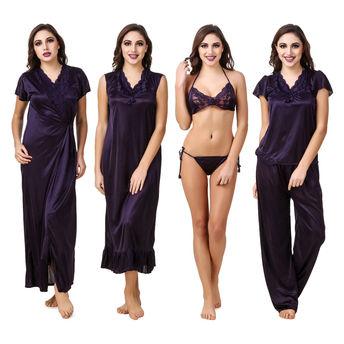 20692ecba8 Fasense Women Satin Navy Blue Nightwear 6 Pc Set of Nighty, Wrap ...