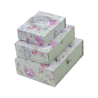 Bag Of Small Things Silver Floral Gift Box Set Of 3
