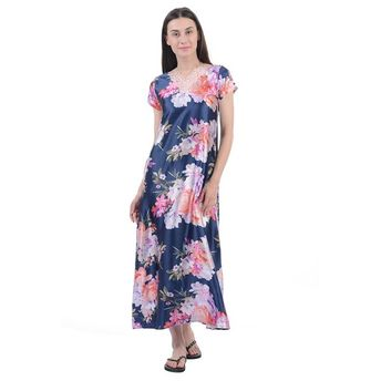 632b518d90e Sweet Dreams Women Half Sleeves Full Length Nighty - Blue at Nykaa.com