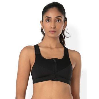 de18b8bb52a PrettySecrets Zip-Front Sport Bra - Black at Nykaa.com