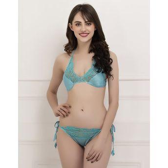 01c3c018c34 Clovia Satin String Bra   Panty Set- Green (Free Size) at Nykaa.com