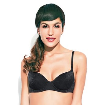91396c5ea9d Enamor Balconette Underwired Padded Bra - Black at Nykaa.com