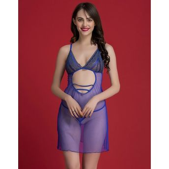 477189923 Clovia Sheer Babydoll With Thong - Blue at Nykaa.com