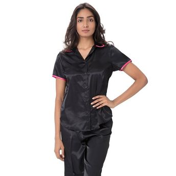 8c01988d4767b0 Pretty Secrets Satin Top & Pajama Set Black at Nykaa.com