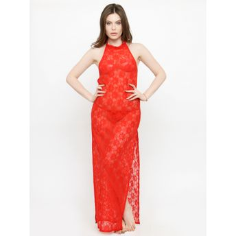 f6e349faf N-Gal See-Thru Side Slit Red Lace Gown Night Dress with G-String at ...