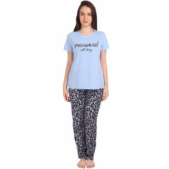 ac0714c9f4d S.O.I.E Women s T-Shirt With Printed Viscose Pajama Set - Multi ...