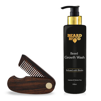 Beardhood Folding Beard Comb & Beard Growth Wash(100ml)