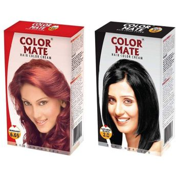 Color Mate Burgundy & Natural Black Hair Color Cream at Nykaa.com