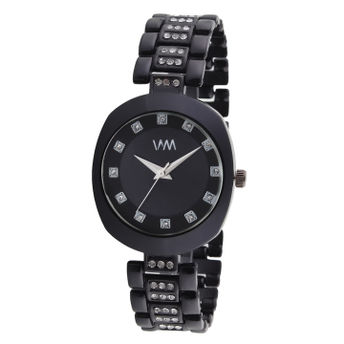82f7cd414 WM Black Dial Stainless Steel Strap Watch For Women (WMAL-348new) at ...