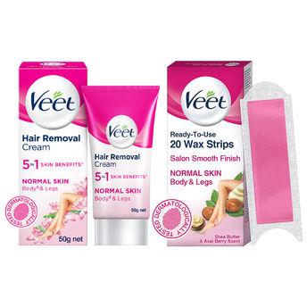 Veet Full Body Hair Removal Kit for Normal Skin - 20 Wax ...