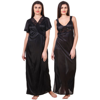 a774f795e8 Fasense Women Satin Black Nightwear 2 Pc Set of Nighty & Wrap at ...