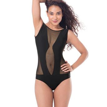 1a0cdc5c1ffd8 Buy PrettySecrets Mesh Plunge Neck Swimsuit - Black at Nykaa.com