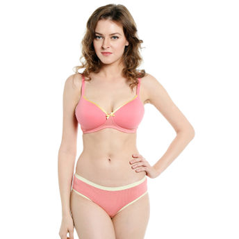 d17b51b94 S.O.I.E Everyday Non Wired Organic Cotton Padded Bra And Matching Panty -  Pink (38C)(38C)