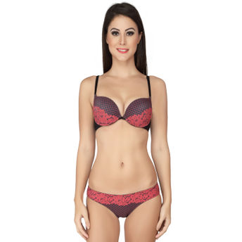 5808faf520 S.O.I.E Red Cleavage Boosting Push Underwired Bra And Panty Set ...