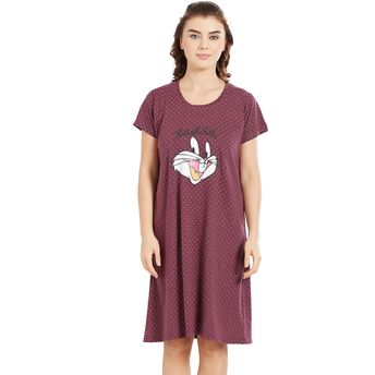 8d87fff9d Velvet by night Brown Round Neck Short Nighty for Women at Nykaa.com
