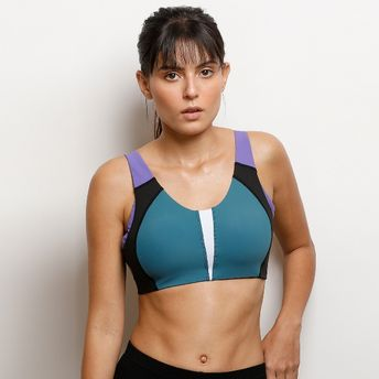 4d70209a3241 Zivame High Impact Sports Bra - Black And Purple at Nykaa.com