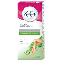 Veet Full Body Waxing Kit Easy-Gelwax Technology Dry Skin - 20 Strips